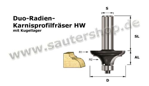 Duo-Radien-Karnisprofilfräser