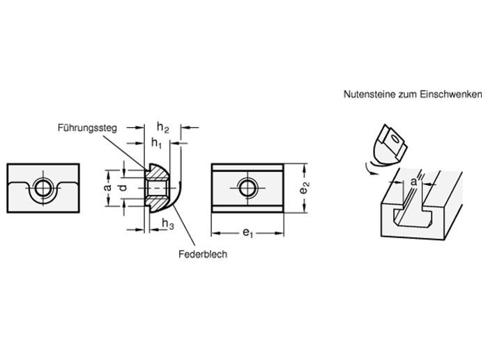 T-Nutenstein und Stiftschraube (L50) M6 im 4-tlg. Set