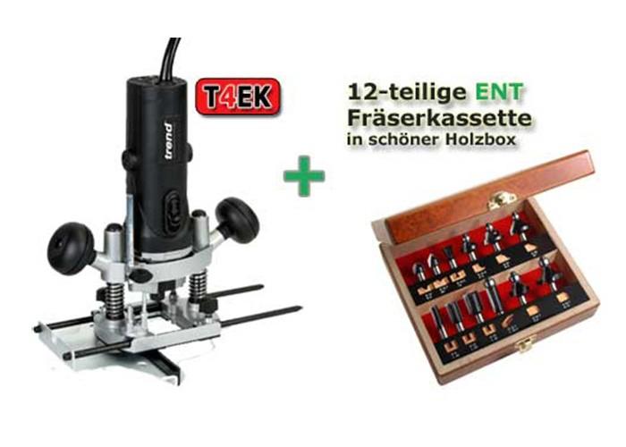 Oberfräse T4EK und Fräserkassette 12 tlg. Holz