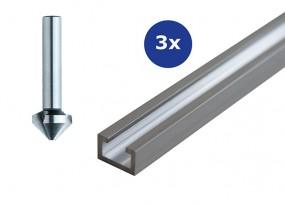 3x Aluminium-Profilschiene 1000 mm & Kegelsenker