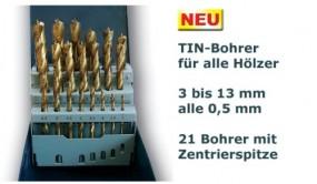 Holzspiralbohrer TIN-beschichtet 3 - 13 mm