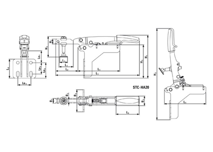 Waagrechtspanner mit offenem Arm und abgewinkelter Grundplatte STC-HA /20