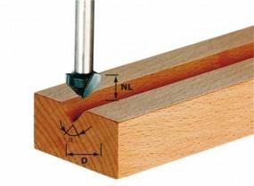 V-Nutfräser HW Schaft 8 mm HW S8 D14/7/90°