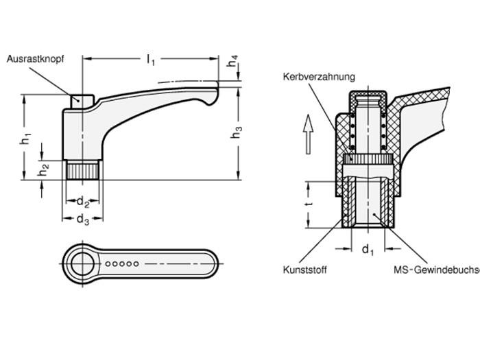 Verstellbarer Klemmhebel mit Gewindebuchse M6 - 4 Stück