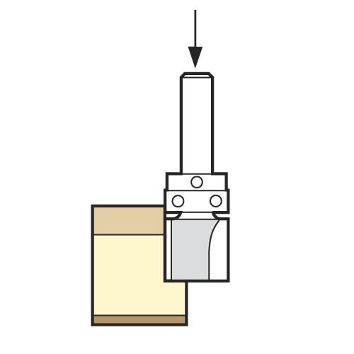 Bündigfräser HM mit schaftseitigem Kugellager
