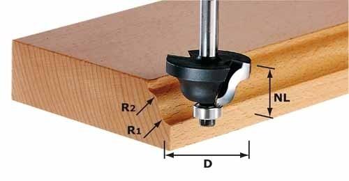 Doppelradienfräser HW Schaft 8 mm HW S8 D31,7/R4/R4