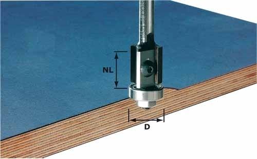 Wendeplatten-Bündigfräser HW Schaft 8 mm HW S8 D19/20WM Z2
