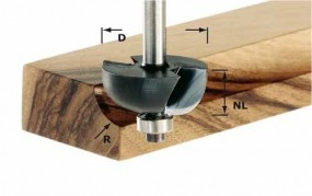 Hohlkehlfräser HW Schaft 8 mm HW S8 D38,1/R12,7 KL