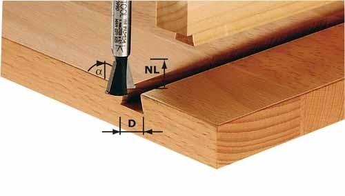 Grat-/Zinkenfräser HW Schaft 8 mm HW S8 D14,3/13,5/15°