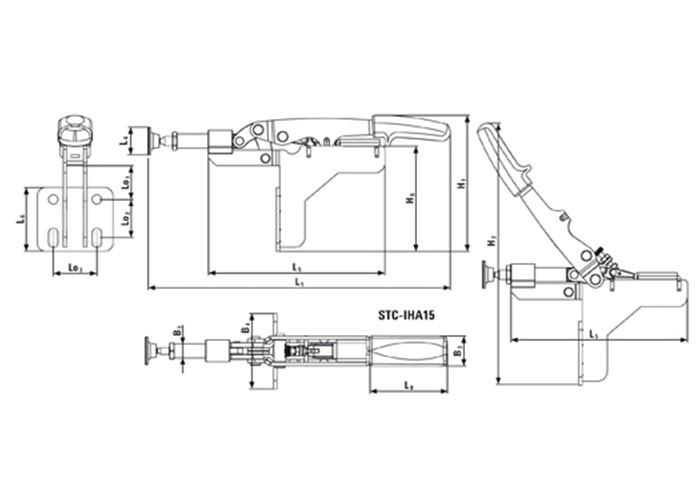 Schubstangenspanner mit abgewinkelter Grundplatte STC-IHA /10