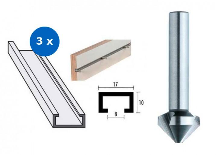 3x Aluminium-Profilschiene 1000 mm inklusive Kegelsenker
